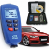 Paint Coating Gauge untuk mengukur ketebalan cat pada permukaan Ideal untuk bengkel cat, mobil, kapal, lab manufaktur, dan maintenance tangki Kami ada tipe DT-156 dan DT-156H. Untuk komparasi keduanya bisa dicek di tabel dibawah === This compact Professional Gauge is designed for non-destructive, fast and highly accurate coating thickness measurement. The principal aplications lie in the field of corrosion protection. Ideal for paint shops & electroplaters, chemical, automobile, shipbuilding and aircraft industry CEM Instrument DT-156 gauge are suitable for laboratory, workshop & outdoor use. It works either on magnetic induction principle and on eddy current principle, depends on probe used. DT-156 uses only 1 probe for both ferrous & non-ferrous metal substrates. Probe can be selected manually or automatically. Stores 400 memory values and display 5 statistics ( AVG, MAX, MIN, S.DEV and Number of reading in work mode). It comes with software CD and USB cable for transferring collected data to computer for later analysis or data printing. Features: Non-magnetic coatings (e.g. paint, zinc) on steel Insulating coatings (e.g. paint, anodizing coatings) on no-ferrous metals No-ferrous metals coatings on insulating substrates Easy MENU operation system Statistics Display : AVG, MAX, MIN, S.DEV and Number of readings in work mode Two measuring mode : CONTINUOUS and SINGLE mode Two Operating/working mode : Direct mode : recommended for simple, quick & occasional measurements. Though can't be saved but hold up to 80 current readings + 5 statistics values GROUP mode : permits measurement & storage of readings in a memory. 4 memory groups, 80 saved readings for each group Blue backlight display One-point calibrating and two-point calibrating independently for each working mode Zero calibration 400 Memory readings (80 DIRECT and 320 GROUP readingS) Delete functions delete current data or last reading delete all data and statistics of current work mode delete group data includ